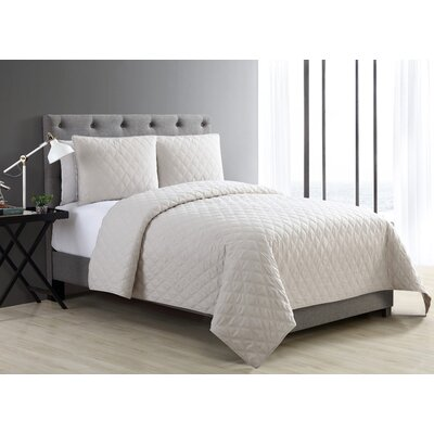 Layman Diamond 2 Piece Coverlet Set Color: Ivory, Size: Twin XL