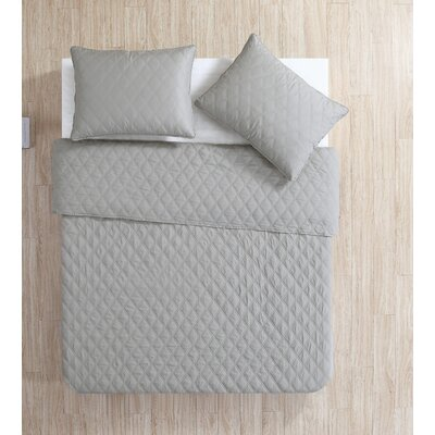 Layman Diamond 2 Piece Coverlet Set Color: Gray, Size: King