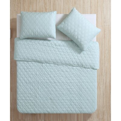 Layman Diamond 2 Piece Coverlet Set Color: Aqua, Size: King