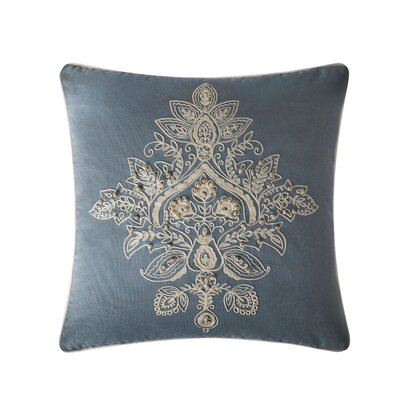 Tommy Medallion Embroidered Throw Pillow Color: Light Blue