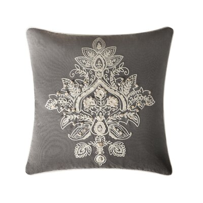 Tommy Medallion Embroidered Throw Pillow Color: Gray