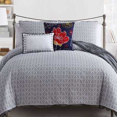 Eaker 5 Piece Reversible Comforter Set Size: Queen