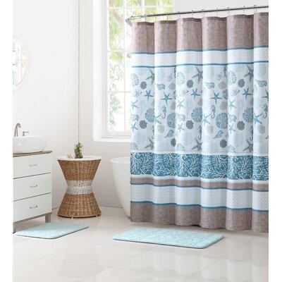 Glidden Printed 15 Piece Shower Curtain Set Color: Blue