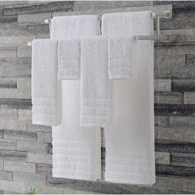 Wide Ribbed 6 Piece Towel Set Color: White