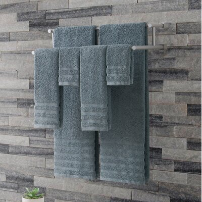 Wide Ribbed 6 Piece Towel Set Color: Slate Blue