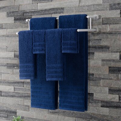 Wide Ribbed 6 Piece Towel Set Color: Indigo Blue