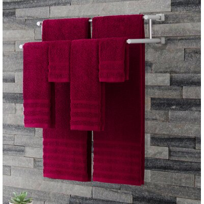 Wide Ribbed 6 Piece Towel Set Color: Scarlet