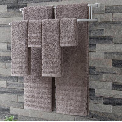 Wide Ribbed 6 Piece Towel Set Color: Gray