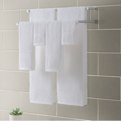 Ribbed Luxury 6 Piece Towel Set Color: White