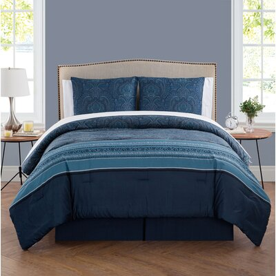 Hampstead 8 Piece Comforter Set Size: King, Color: Navy