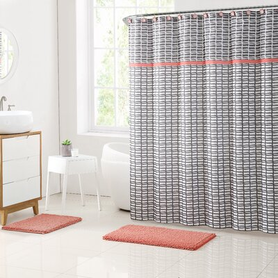 Rayner Shower Curtain Set Color: Coral