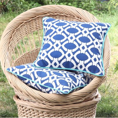Tonkawa Outdoor Throw Pillow Color: Blue