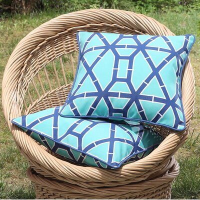 Tonkawa Bamboo Outdoor Throw Pillow Color: Turquoise