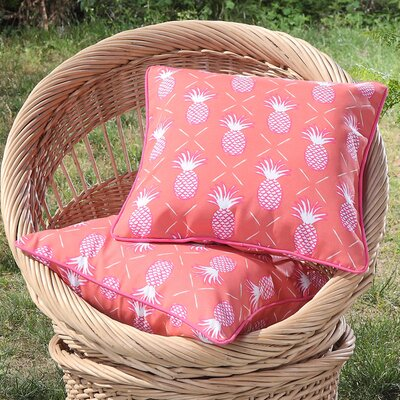 Madeleine Printed Pineapples Outdoor Throw Pillow Color: Orange