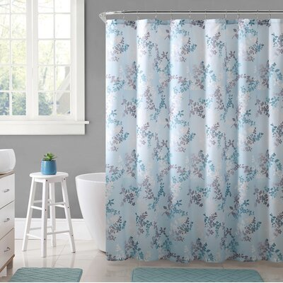 Estevao 15 Piece Printed Microfiber Shower Curtain Set Color: Aqua