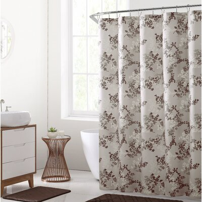 Estevao 15 Piece Printed Microfiber Shower Curtain Set Color: Chocolate
