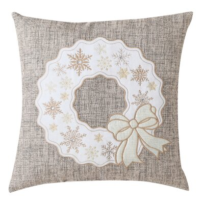 Christmas Wreath Embroidered Throw Pillow