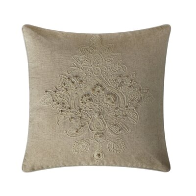 Parrino Embroidered Cotton Throw Pillow Color: Ivory