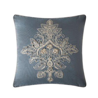 Parrino Embroidered Cotton Throw Pillow Color: Light Blue