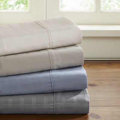 600 Thread Count Cotton Dobby Windowpane Sheet Set