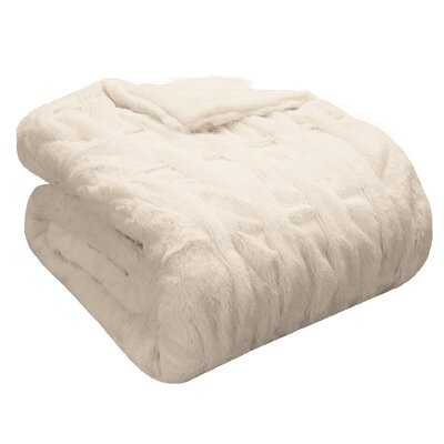 Ruched Fur Throw Blanket Color: Ivory