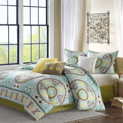 Samara 7 Piece Comforter Set Color: Blue, Size: California King