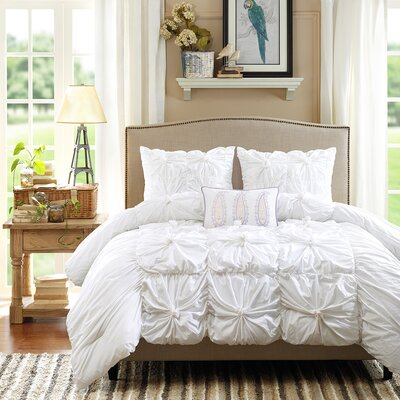 Harlow 4 Piece Reversible Comforter Set Color: White, Size: King