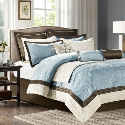 Juliana 9 Piece Comforter Set Size: King, Color: Blue
