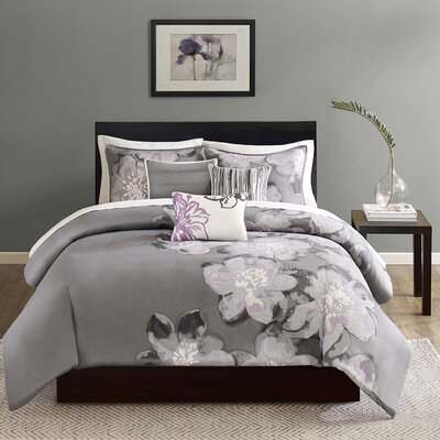 Serena 6 Piece Reversible Duvet Cover Set Size: Queen