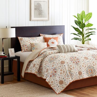 Figueroa 6 Piece Reversible Coverlet Set Size: Full/Queen, Color: Orange
