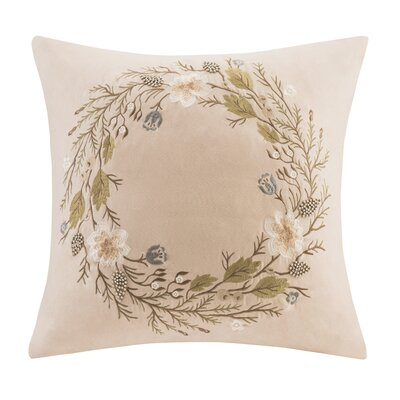 Wreath Embroidered Throw Pillow