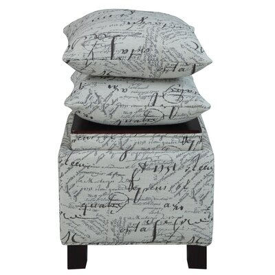 Madison Park Script Storage Ottoman