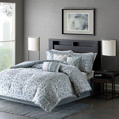 Carlow 7 Piece Comforter Set Size: King, Color: Blue