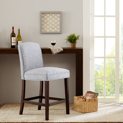Camel 25 inch Bar Stool Upholstery: Grey
