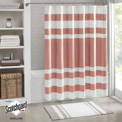 Malory Shower Curtain Size: 72 W x 72 H, Color: Coral