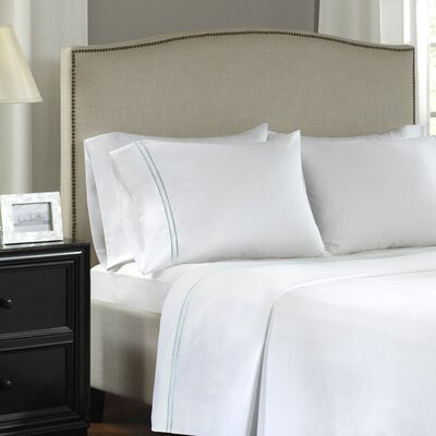 Clare 400 Thread Count Embroidered Cotton Sateen Pillowcase Size: King, Color: Taupe