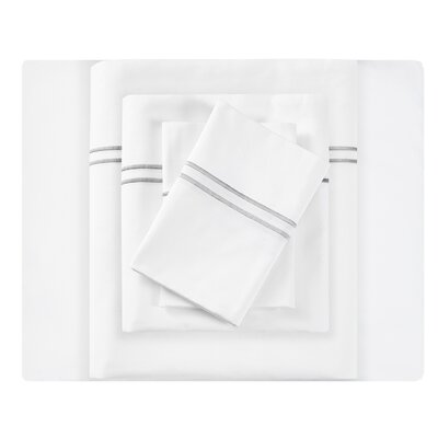 Clare Embroidered 400 Thread Count Cotton Sateen Sheet Set Size: California King, Color: Gray