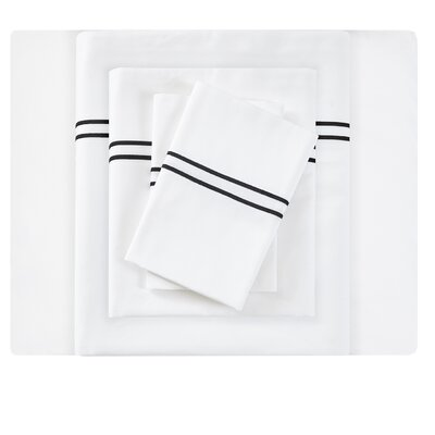 Clare Embroidered 400 Thread Count Cotton Sateen Sheet Set Size: California King, Color: Black