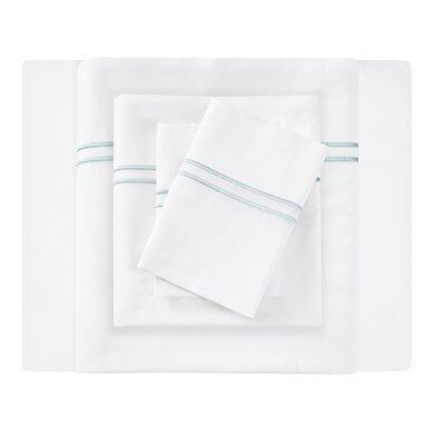 Clare Embroidered 400 Thread Count Cotton Sateen Sheet Set Size: California King, Color: Aqua
