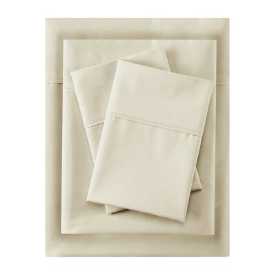 Crescent Beach 400 Thread Count 100% Cotton Sheet Set Size: Full, Color: Ivory