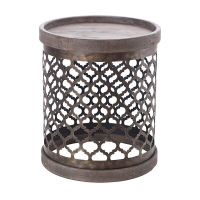 Waller Quatrefoil End Table Color: Grey