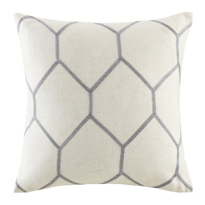 Almaguer Metallic Geo Embroidered Throw Pillow Color: Grey