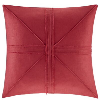 Rafaela Oversized Frayed Linen Throw Pillow Color: Red