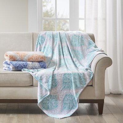 Folkerts Oversized Plush Throw Color: Aqua