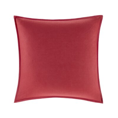 Burdick 100% Linen Throw Pillow Color: Red