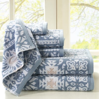 Cotton Jacquard 6 Piece Towel Set Color: Aqua