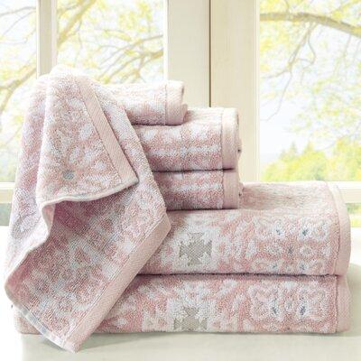 Cotton Jacquard 6 Piece Towel Set Color: Pink