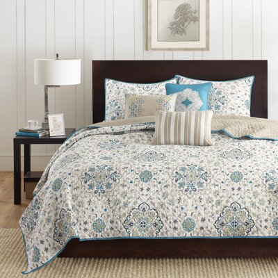 Figueroa 6 Piece Reversible Coverlet Set Size: Full/Queen, Color: Teal