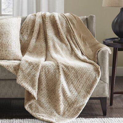 Belina Luxury Faux Fur Throw Color: Tan