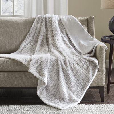 Belina Luxury Faux Fur Throw Color: Gray